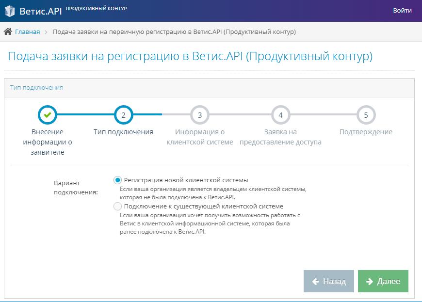 Получение доступа Ветис.API. Шаг 2 «Тип подключения».